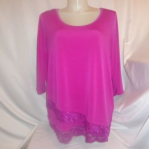 Simply Emma Tops - Top 2X Fuchsia Purple Lace Hem 3/4 Sleeves Boho x